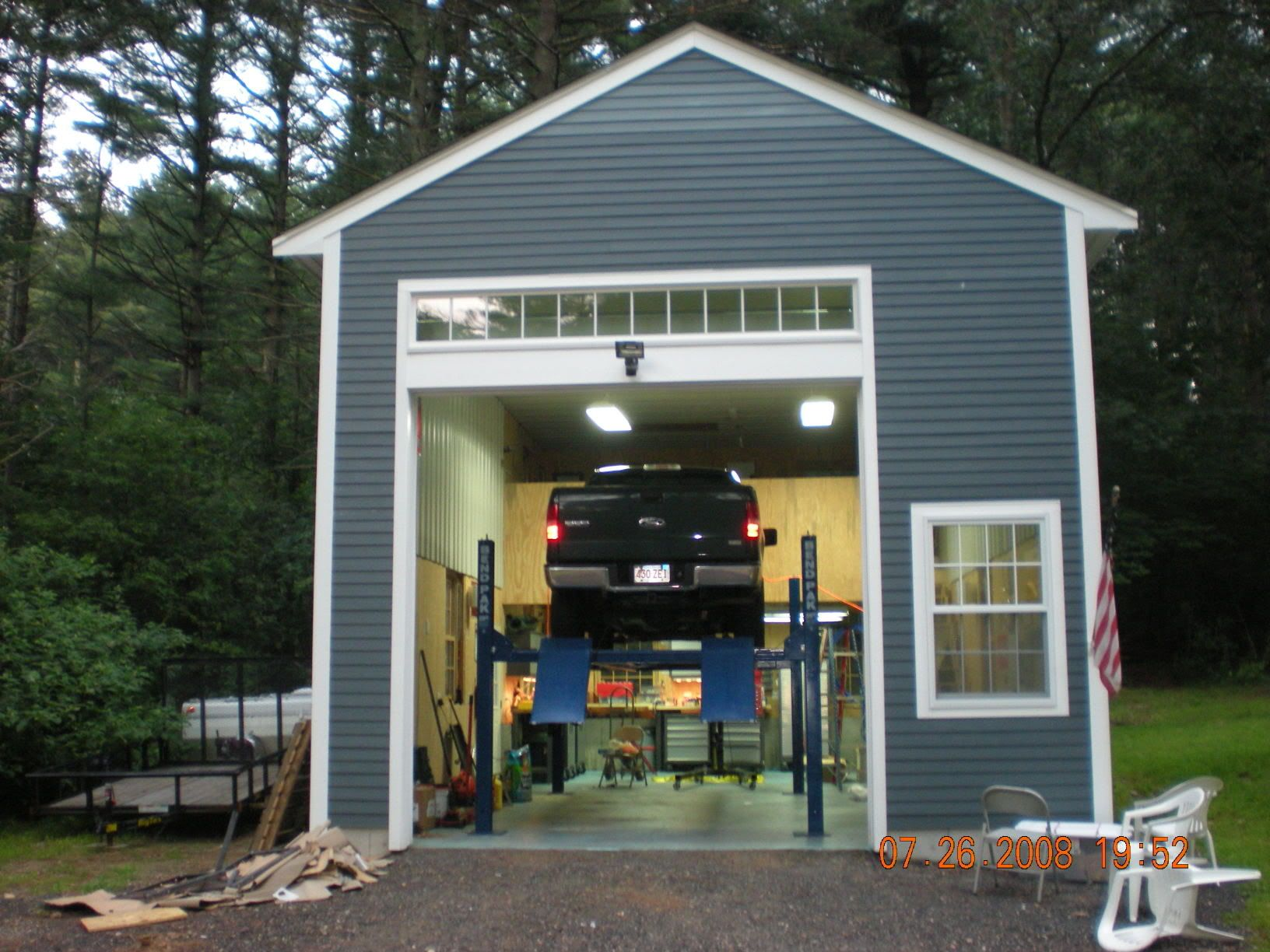 External Garage With 2 Car Lift Garage Workshop Garage Remodel