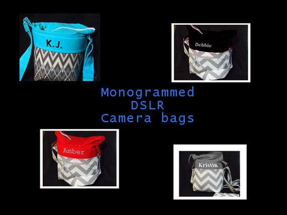 Monogrammed DSLR Camera Bag  Canon Nikon Sony Pentrax  Camera Case  SLR Camera Bag  Camera Purse  Water Resistant  6x5x8 Camera Bags #camerapurse