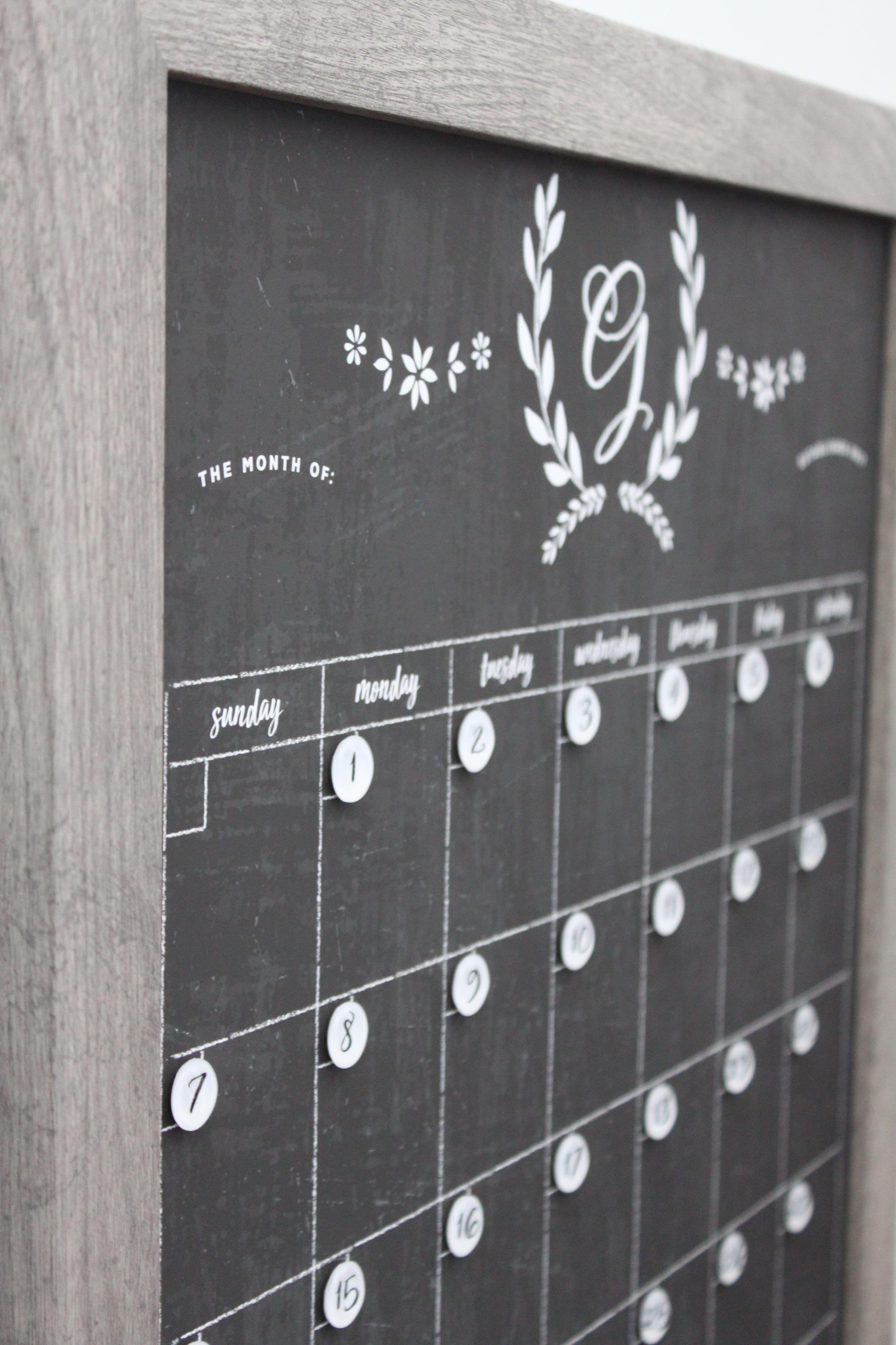 Chalkboard Calendar - Dry erase calendar - Framed calendar - framed ...