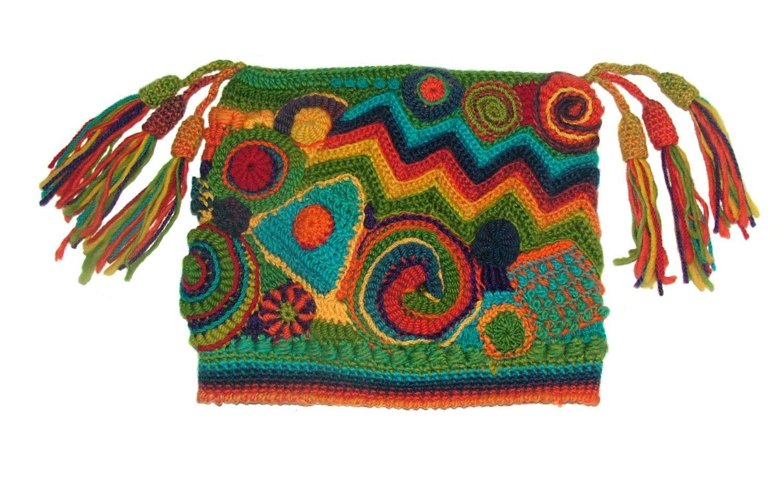 Women\'s Beanie Jester Hat Freeform Crochet Multicolor Rainbow OOAK