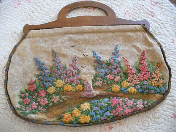Your Place To Buy And Sell All Things Handmade Knitted Bags Wooden Handle Bag Knitting