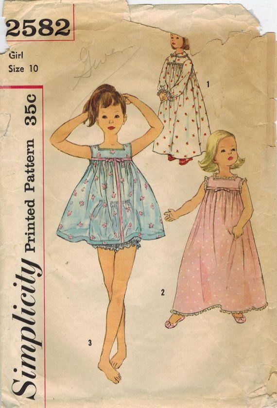 1950s Simplicity 2582 Vintage Sewing Pattern Girls Shortie Pajamas ...