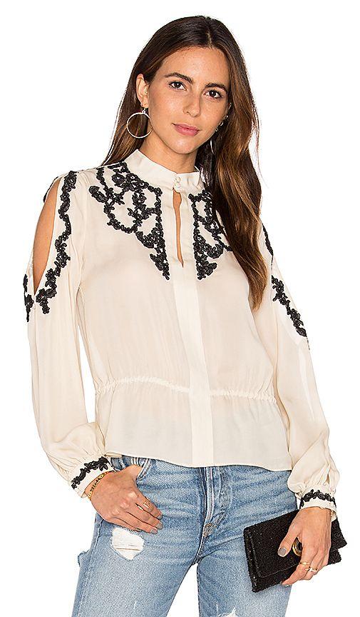 7cf222fdd012a Lace Applique Cold Shoulder Blouse