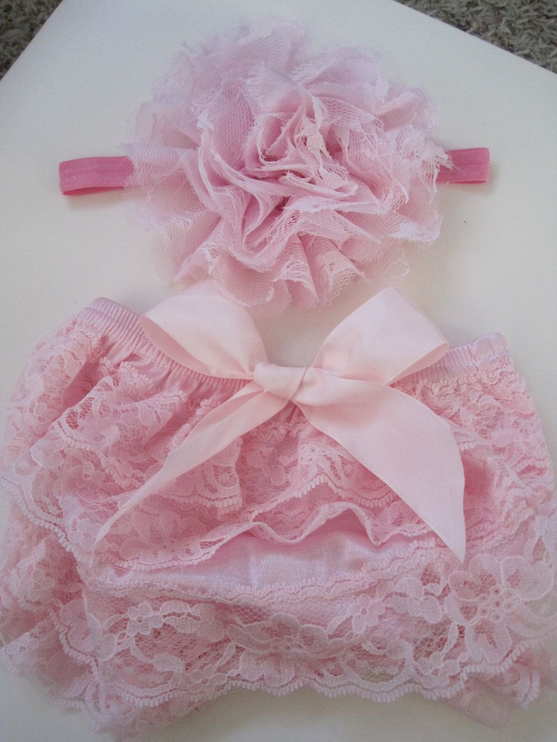 Lace Bloomer Set  Baby Girl Photo Prop by CakeForBaby on Etsy, $14.99