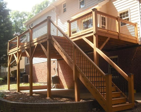 Pin By Nicole Frisby On D E C K Building A Deck Deck Design | 2 Story House With Stairs Outside | Dark Grey | Traditional | Roof Terrace | Unique | Covered Deck