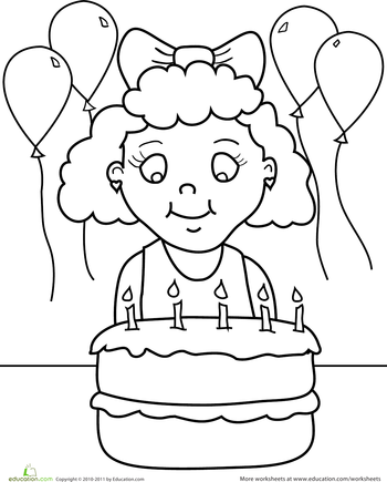 Birthday Coloring: Birthday Girl | Birthday coloring pages ...
