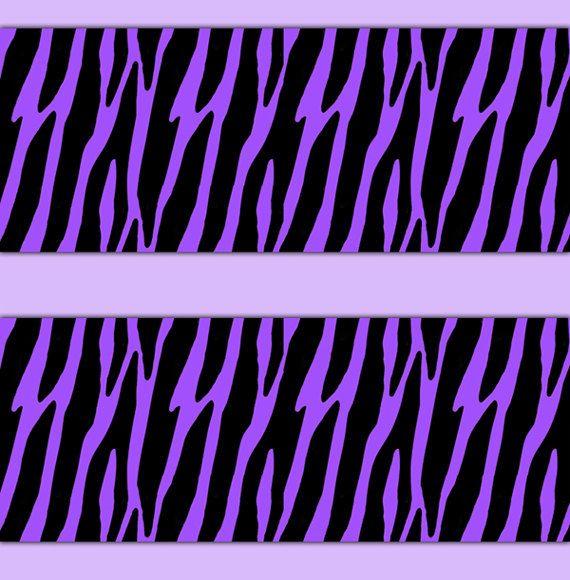 ZEBRA PRINT DECAL Sticker Purple Wallpaper Border Wall Decor Girls ...