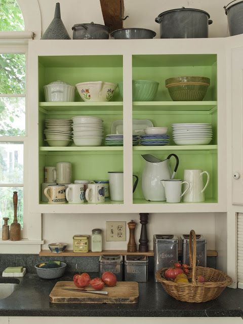 Remove the cabinet doors to create open shelving. Painting ...