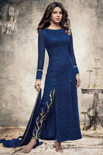 0d32c90da8 Beautiful Blue Georgette Fabric Embroidered Indian Designer Priyanka Party  Wear Suit