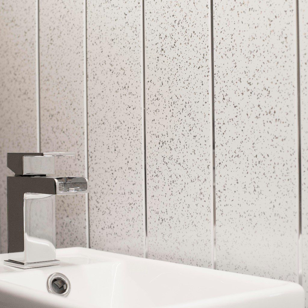 Bathroom Shower Cladding Wall Panels-White and Chrome Sparkle ...