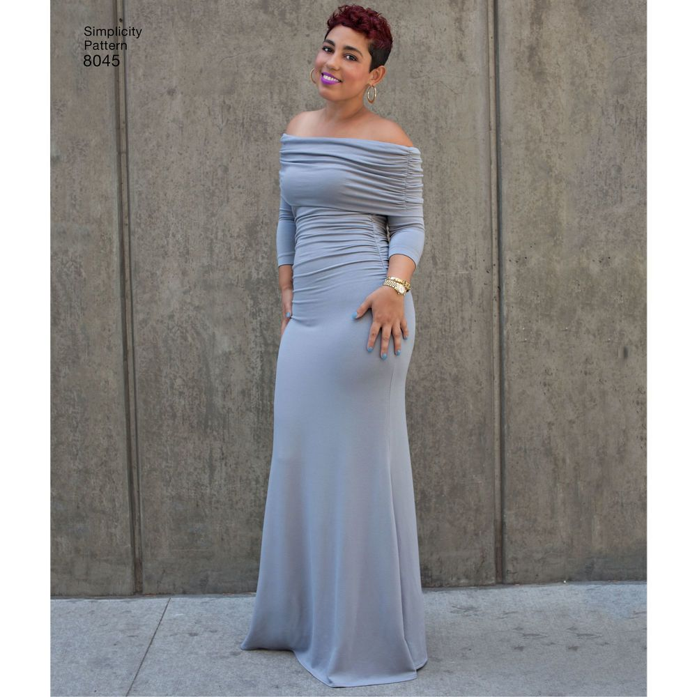 Look and feel your best in these figure flattering dresses for Miss and Plus sizes designed by Mimi G. Pattern includes floor and knee length knit dresses with three quarter sleeves and off the shoulder draped neckline. Simplicity sewing pattern.