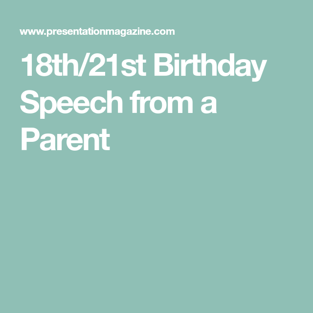 18th birthday speech