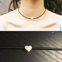 Wish | Trendy Leather Chain Heart Necklace Vintage Black Princess Cute Elegant Jewelry Fashion Charm Sexy Bar Tattoo Collars Torques Necklaces (Color: Black)