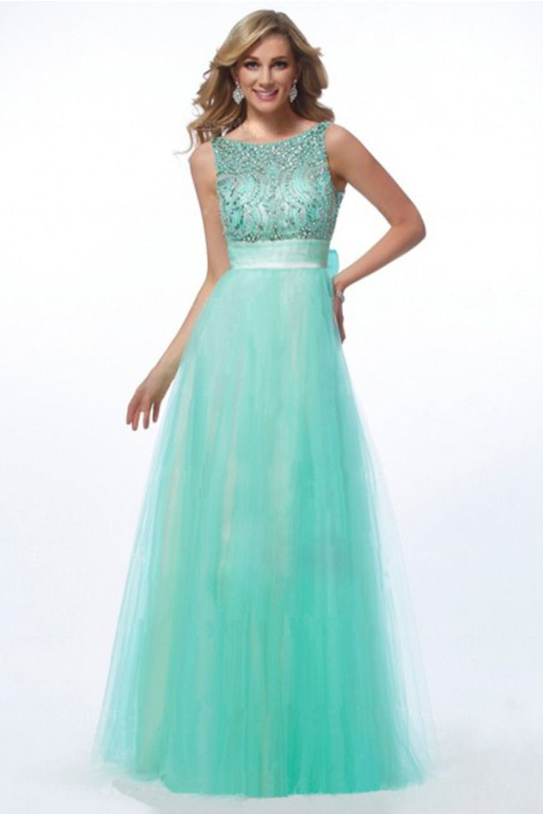Prom Dresses 2013 Scoop Floor Length Tulle Handmade Beadings for ...