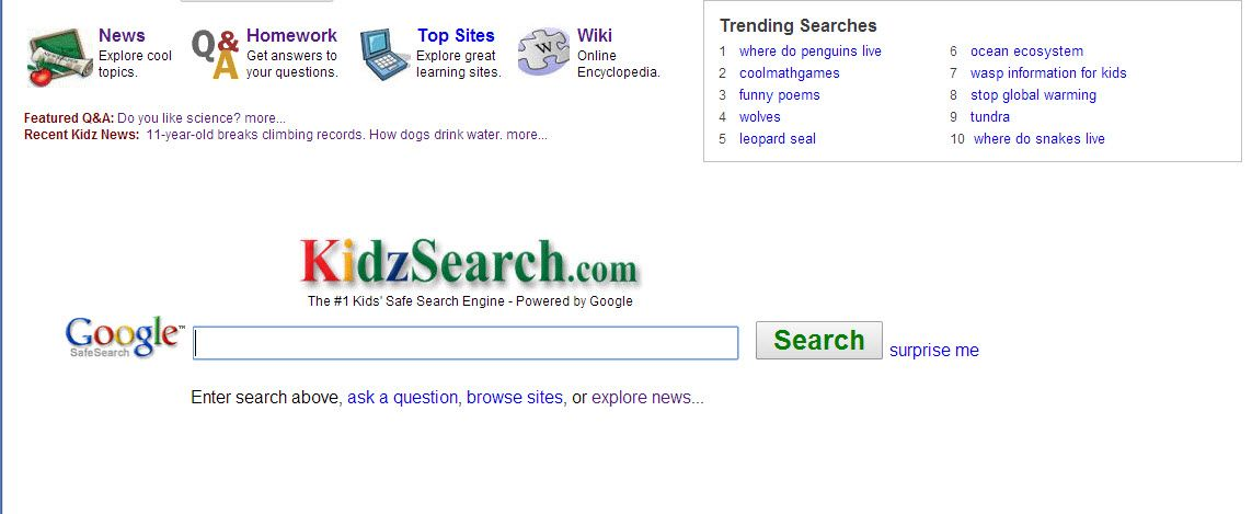 is the 1 Kids' Safe Search engine powered