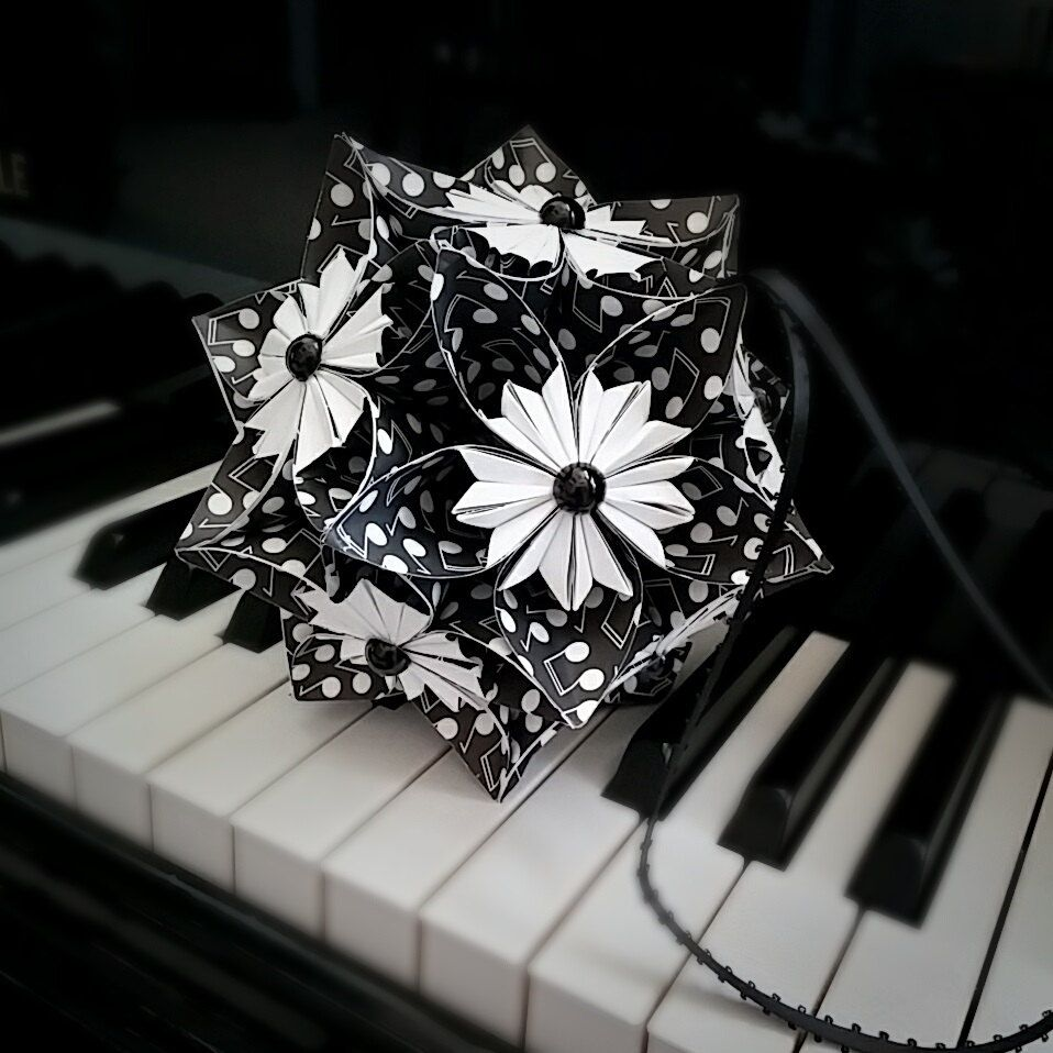 Music note paper flower ball kusudama flower pomander ornament music note paper flower ball kusudama flower pomander ornament flower home decor origami kusudama ball origami flower by lilomina on etsy dhlflorist Image collections