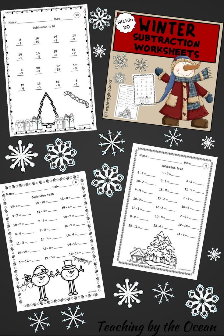 Winter Subtraction to 20 Fact Fluency Worksheets | Morning work ...