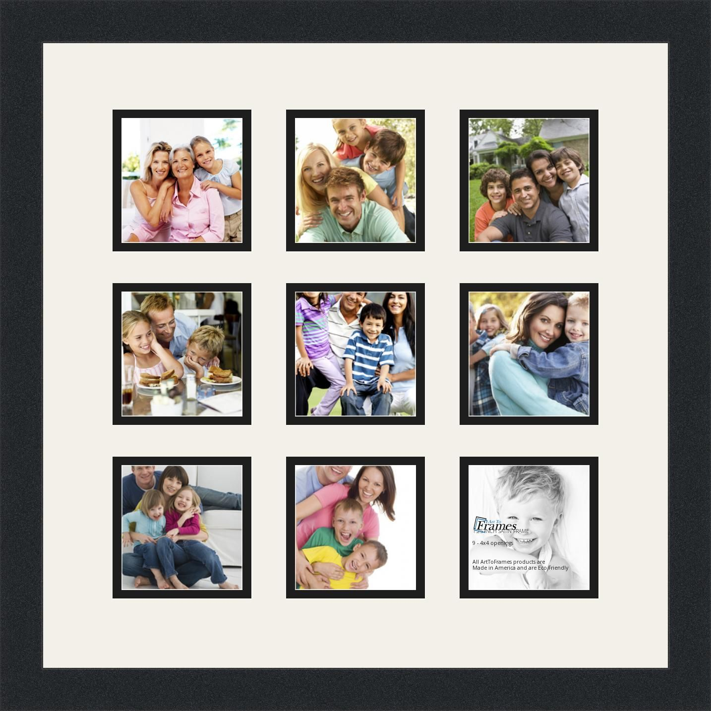 Satin Black Collage Picture Frame with 9 - 4x4 opening(s), Double Matted