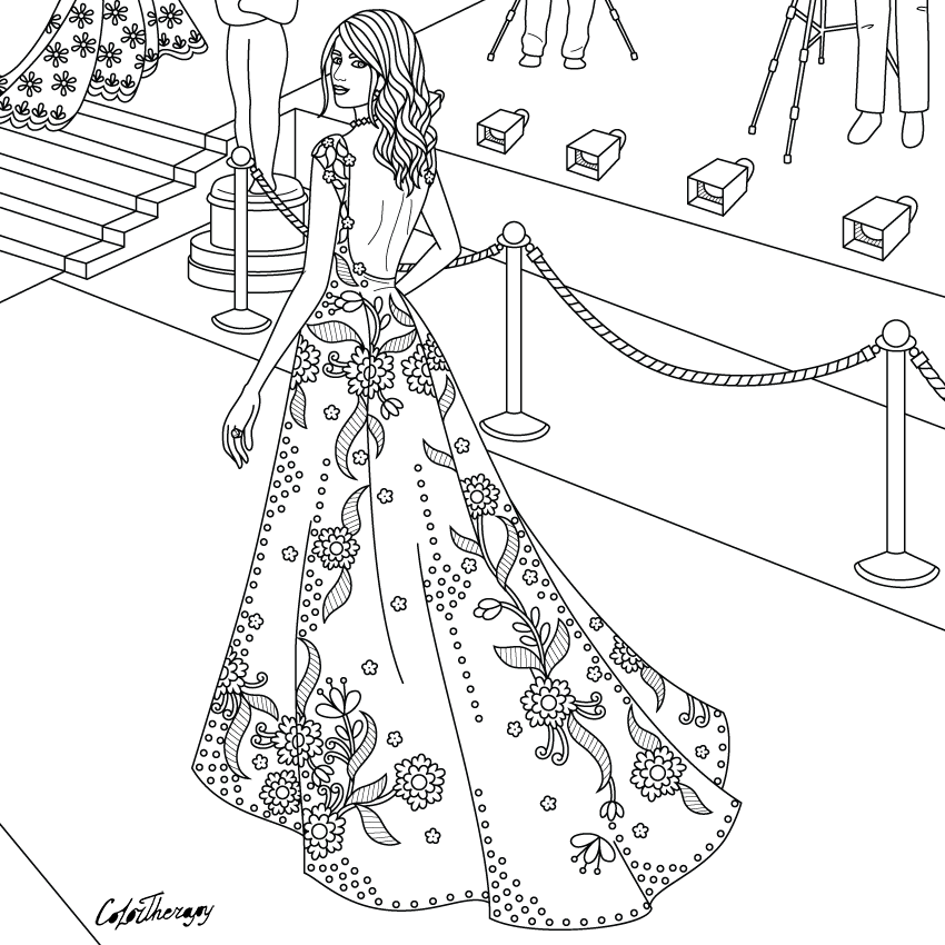 Lady Red Carpet To Color With Color Therapy Http Www Apple Co 1mgt7e5 Colortherapyapp Adultcolouringbook Color Therapy Color Therapy App Coloring Pages