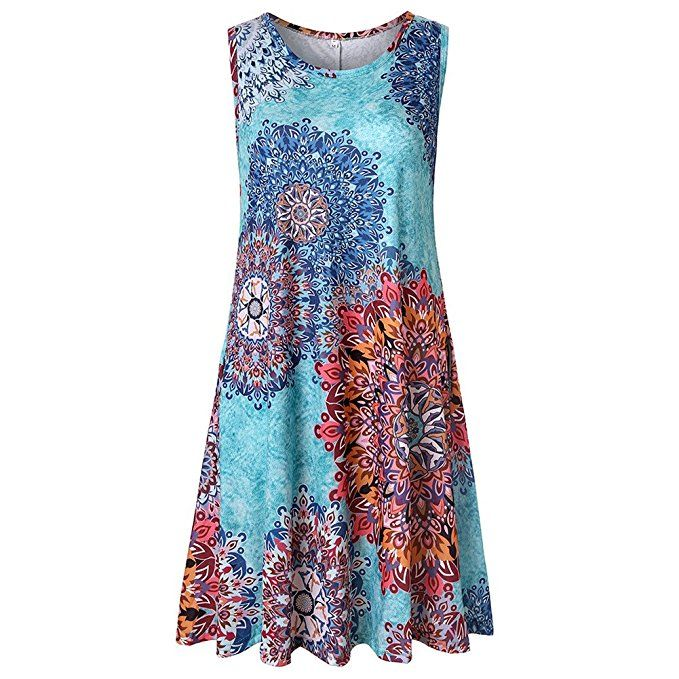 95764c2470df3 Luranee Casual Dresses for Women, Flowy Hawaiian Dress O Neck Terrific  Aesthetic Chic Versatile Charming Flowing Slight Loose Spring Summer Autumn  Holiday ...