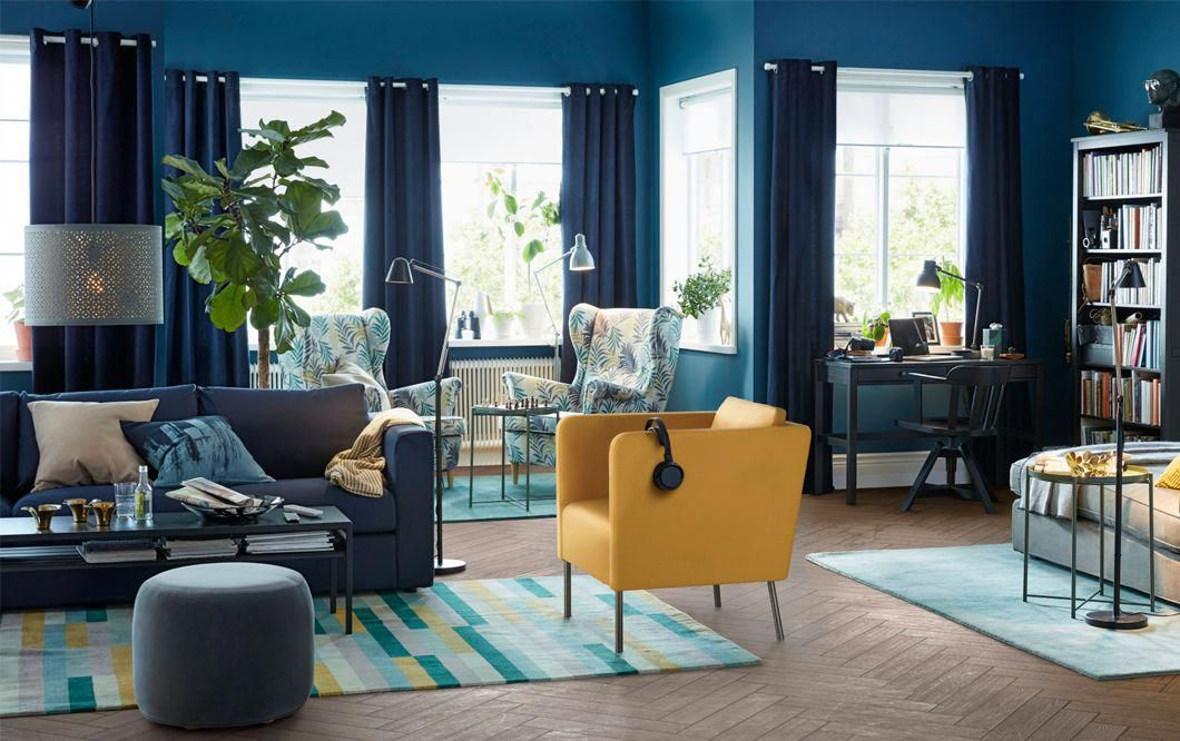 Blue Room With Dark Blue Curtains A Dark Blue Sofa And A Bright Yellow Armchair Co Blue Curtains Living Room Yellow Chair Living Room Furniture Combinations