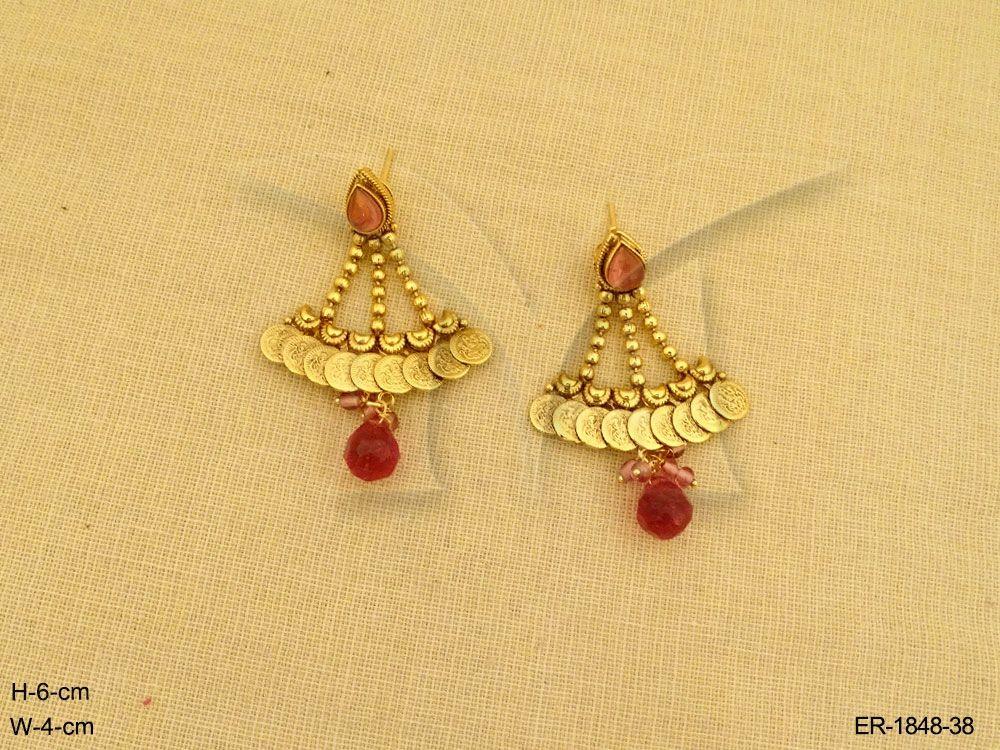 5fb04d45de973 LAXMI JI PENDULAM STYLE TEMPLE COIN EARRINGS | Temple Jewellery by ...