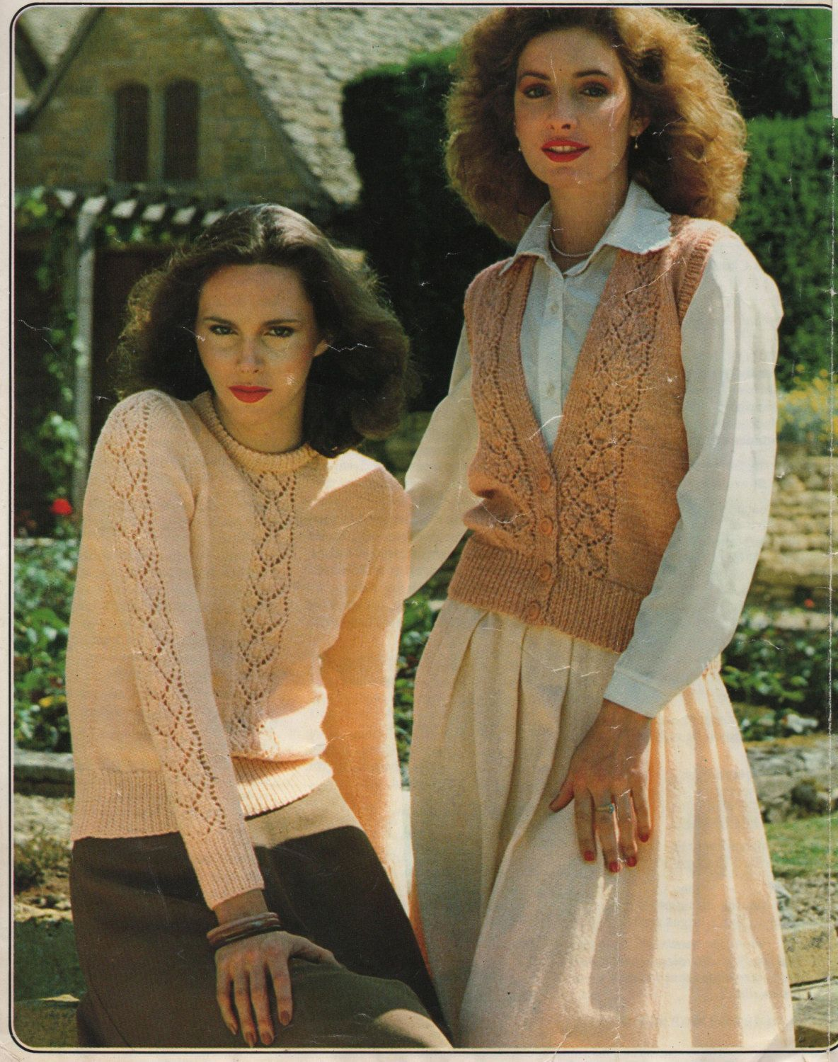 Pdf knitting pattern womens ladies jumper and sleeveless pdf knitting pattern womens ladies jumper and sleeveless cardigan retro pretty lace bankloansurffo Gallery