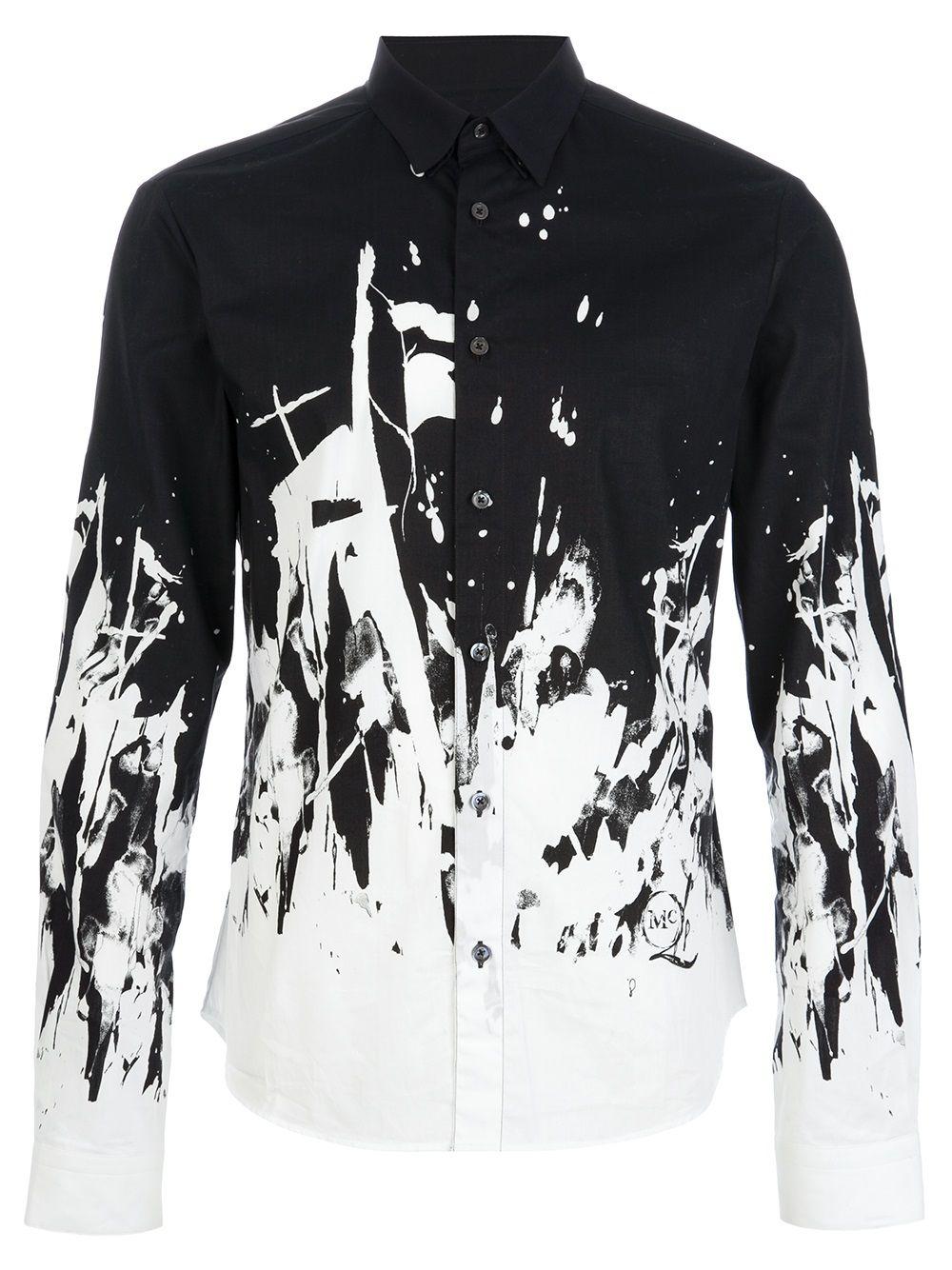87d448a853db Mcq By Alexander Mcqueen Paint Splatter Shirt in White for Men (black) |  Lyst