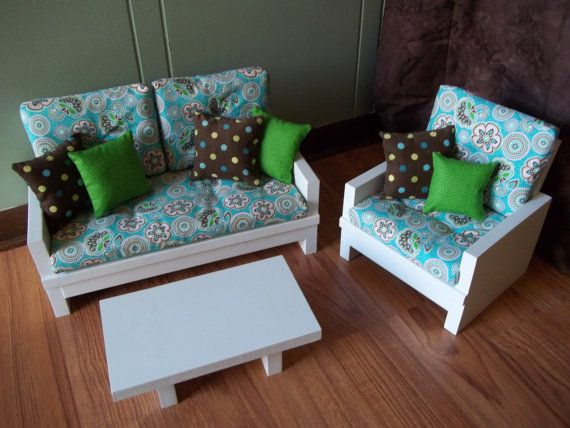 Doll Loveseat Chair Table Living Room Furniture Set For American Girl Or Other 18 Inch Doll