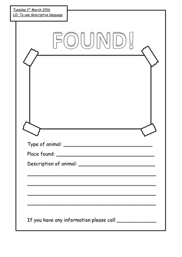 lost and found poster template