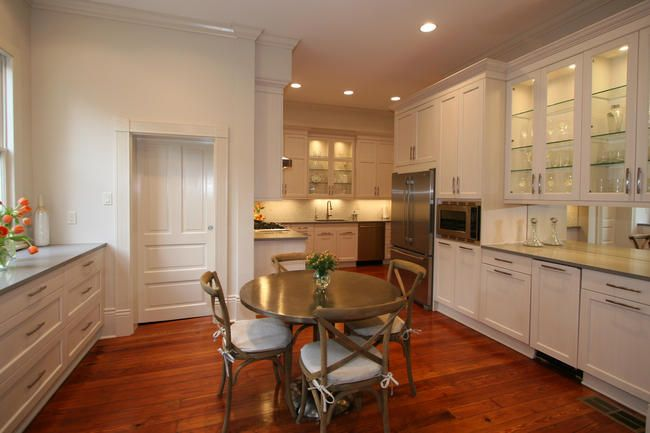 This Kitchen Features A Dinette And Glass Door Cabinets Classic Kitchen Design Transitional Kitchen Design Newly Remodeled Kitchens
