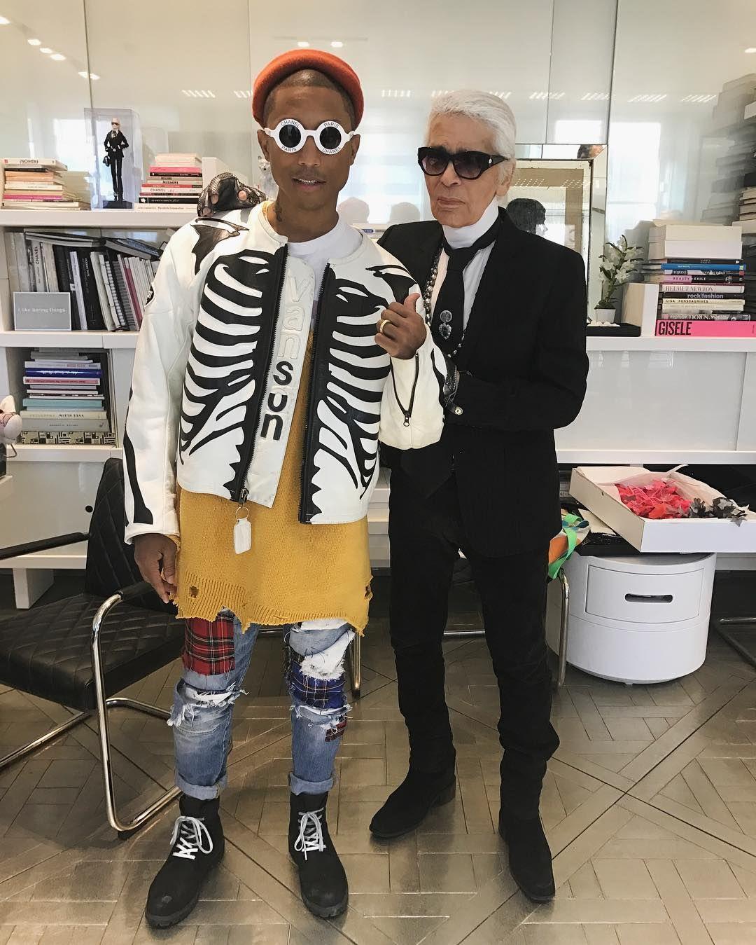 7881b9b11 Pharrell Williams Hangs With Karl Lagerfeld Wearing Vanson Jacket ...