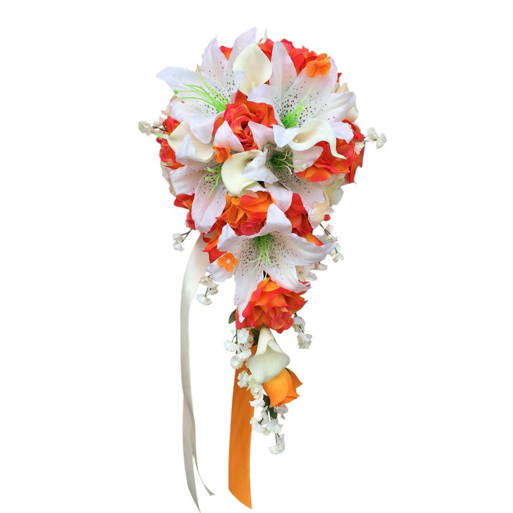 Cascade Bouquet:Orange White roses lily and calla lily artificial flowers