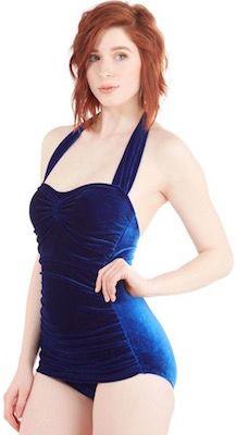 2e8b662f53 Women s Velvet Royal Blue One Piece Bathing Suit