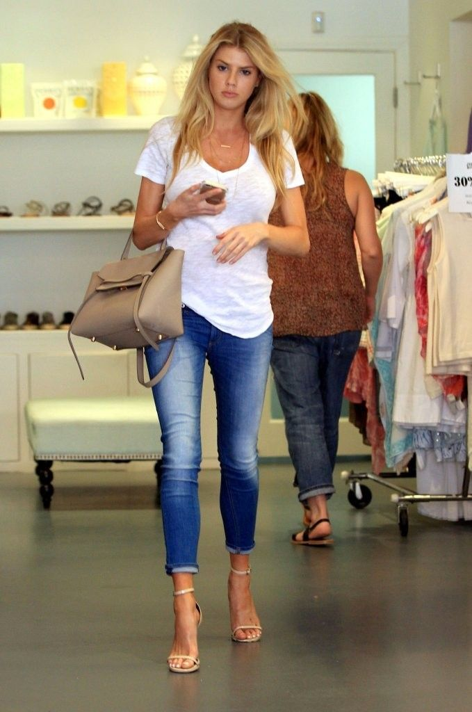 4764e37d756f2 Charlotte McKinney wearing a white shirt
