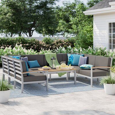 Sol 72 Outdoor Caspian 5 Piece Sectional Seating Group With