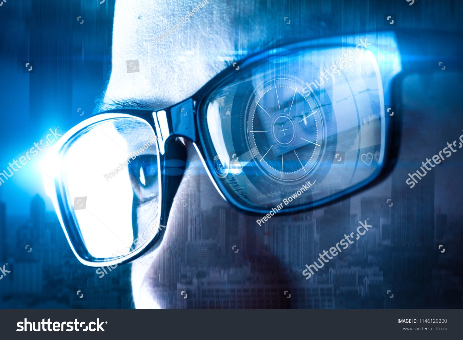 The Double Exposure Image Of The Businessman Wear A Smart Glasses Overlay With Cityscape Image And Futuristic Hologram T Smart Glasses Double Exposure Glasses