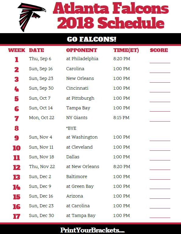 Printable 2018 Atlanta Falcons Football Schedule Rise Up