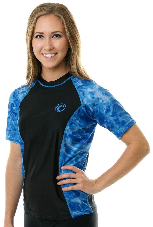 e0346a881 Aqua Design Women Rash Guard Swim Surf Short Sleeve Sun Protection ...