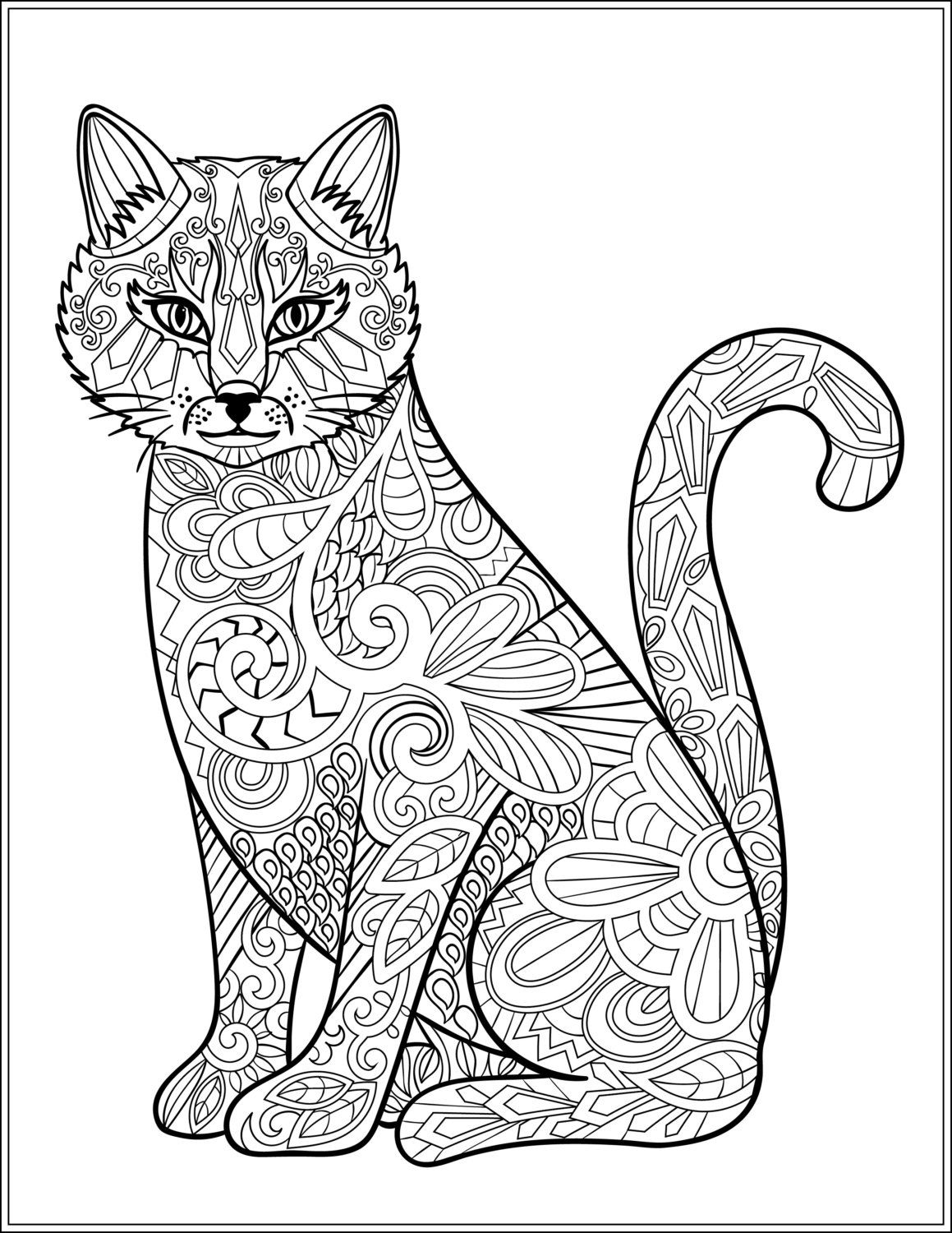 Cat Stress Relieving Designs Patterns Adult Coloring Book Page 6