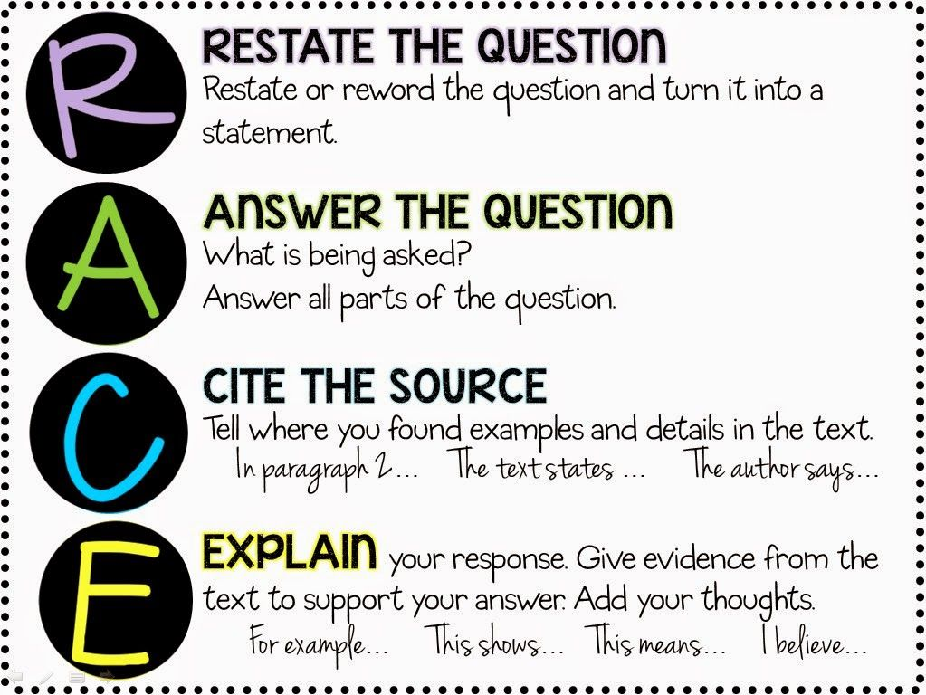 R.A.C.E. Response To Text Strategy   FREE Printables!