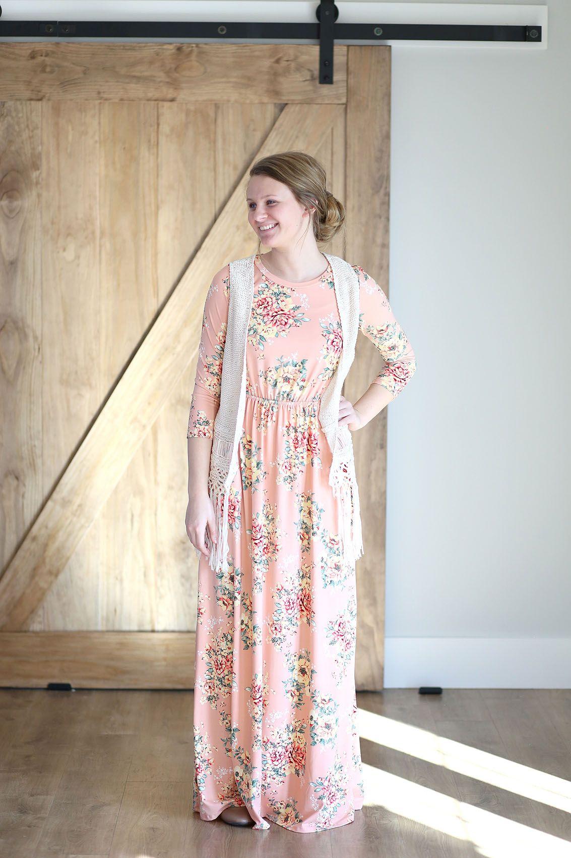 Lauren blush long modest maxi dress modest floral long dress size