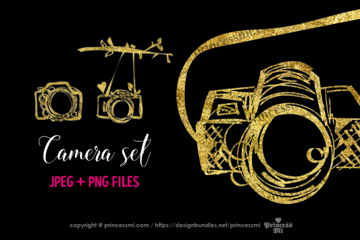 Gold camera, glitter camera clipart set 2 digitalcamera