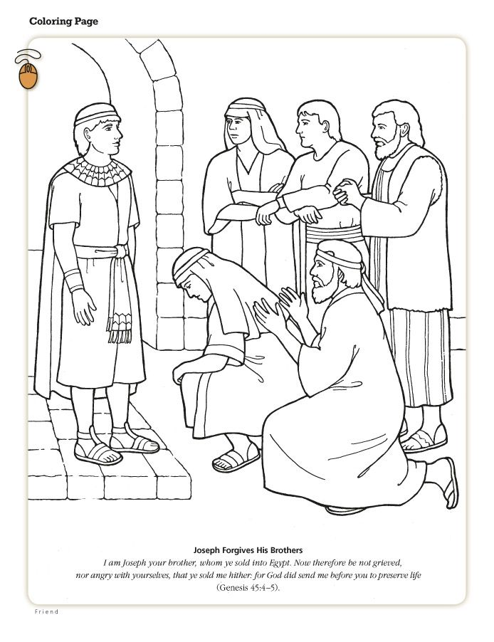 Joseph Forgives His Brothers Lds Lesson Ideas On Wordpress Com Sunday School Coloring Pages Sunday School Lessons Bible Coloring Pages