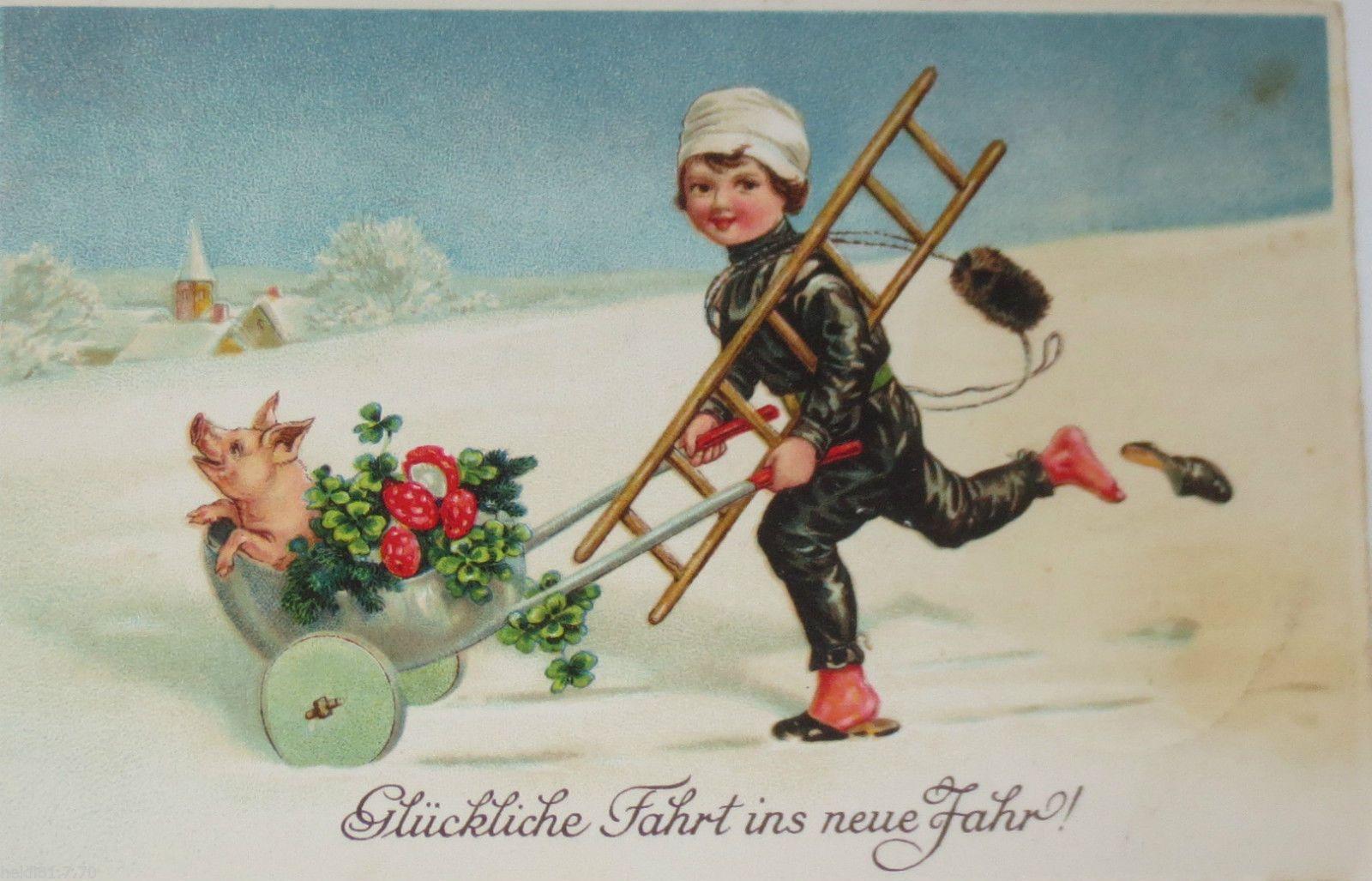 Neujahr Schwein Pilz Kleeblatt Schubkarre Schornsteinfeger1935
