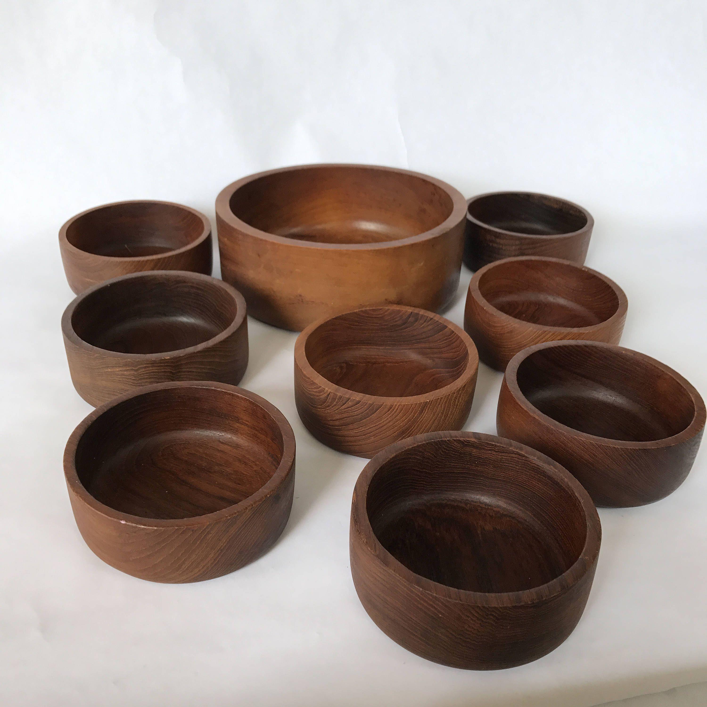 Genuine Teakwood Bowls Made In Thailand By Action Industries Inc Wood Bowls Salad Bowl Teak Serving Bowl Set Boho Chic Retro Teak Bowl Bowl Wood Bowls