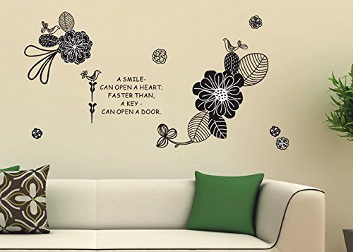 Wall Sticker Outlet  Magic Decals A Smile Can Open A Heart Quote With Black  Flowers