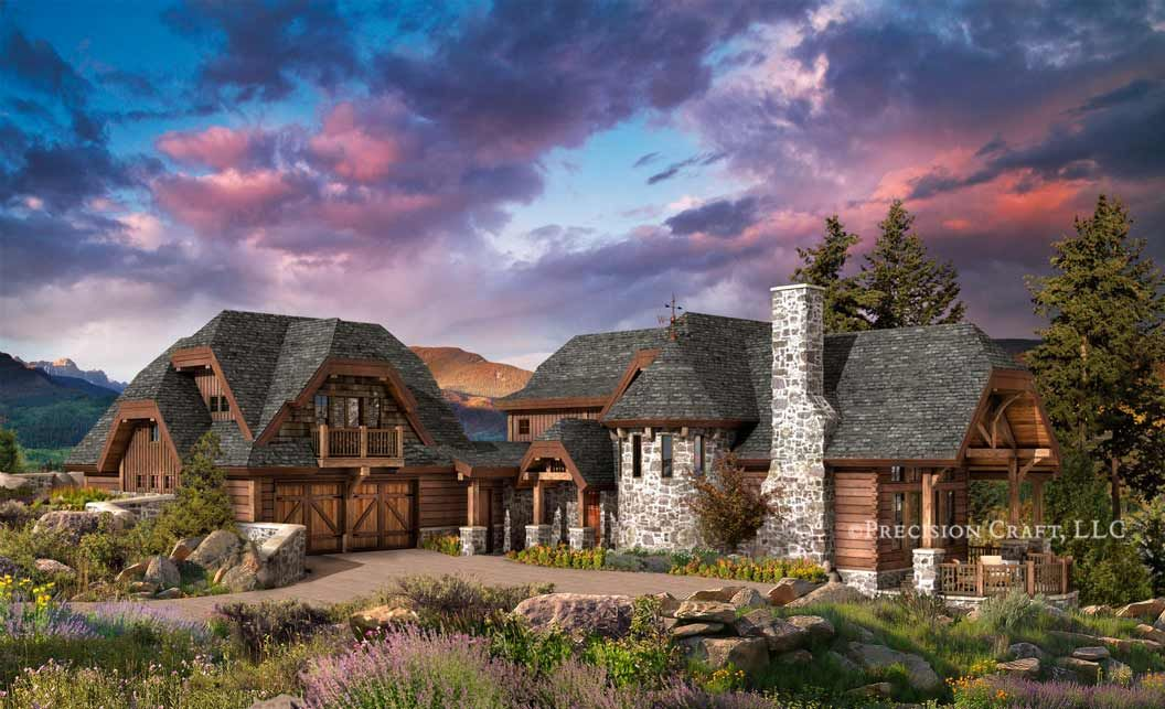 huge log homes | chaumont | hybrid log and timber home plan