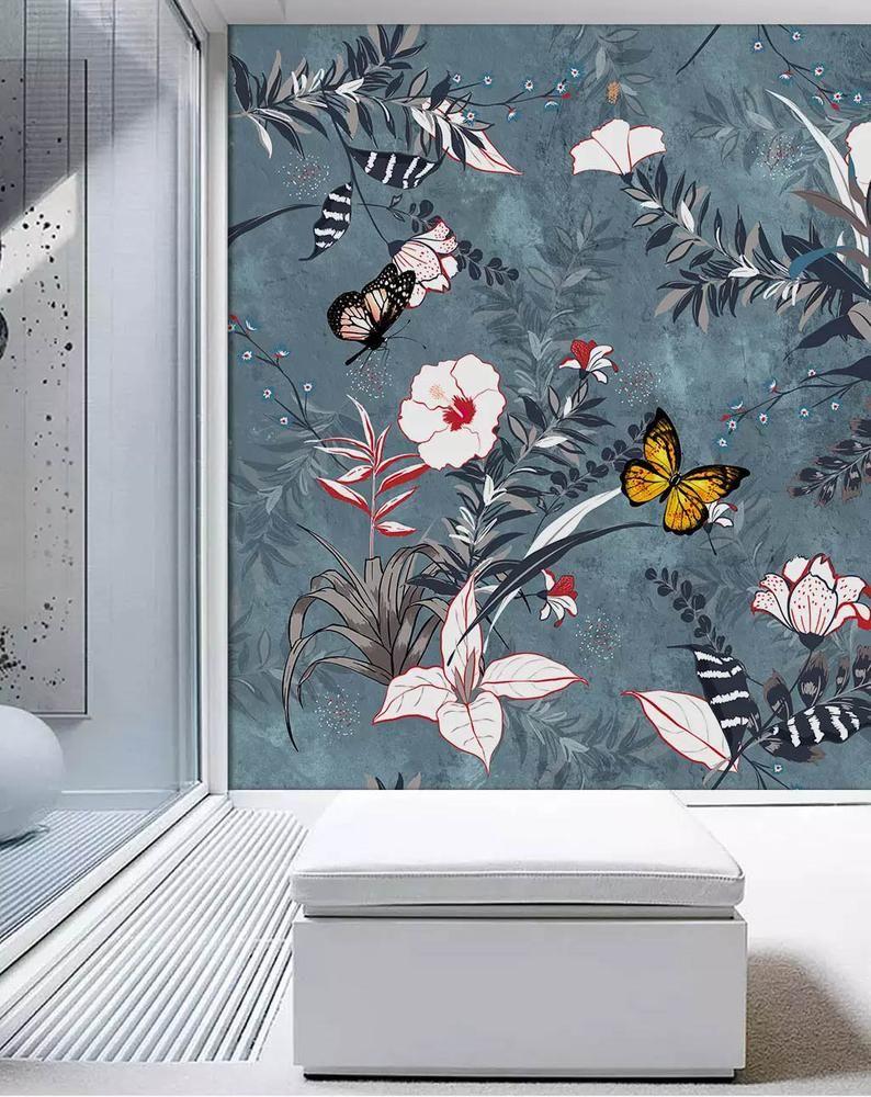 Boho floral wallpaper mural blossom flower butterfly wall