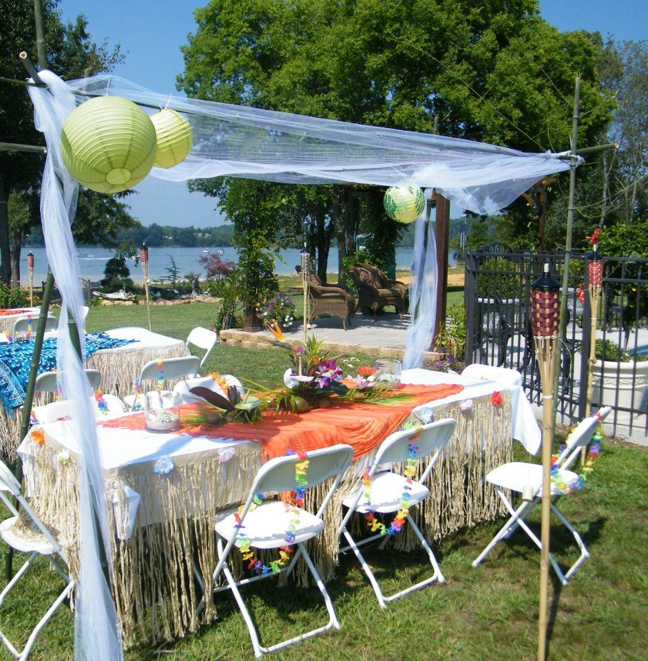 Hawaiian Backyard Party : tropical outdoor party  Outdoor Parties  Pinterest